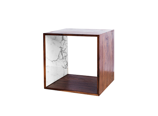 Walnut and Marble Storage Cube
