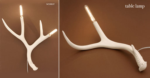 Antler Table Lamp and Sconce by Jason Miller