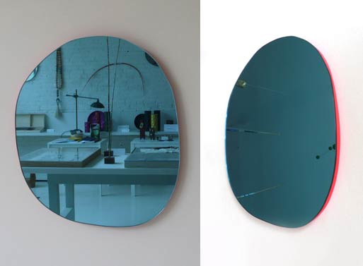 Irregular Round Mirror Pink