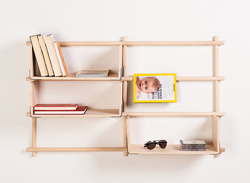 Foldin, Wall Mounted Modular Bookcase
