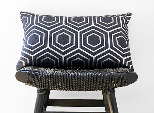 Silver on Blue Linen Hex Pillow Cover