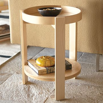 birch wood tray side table