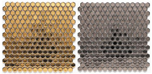Bits Hex Silver or Gold Mosaic Wall Tile