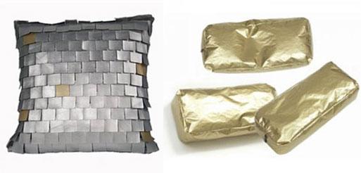 Mosaic and Gold Brick Pillows