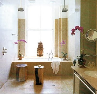 Ranjana and Naeem Khan's Soho loft bathroom