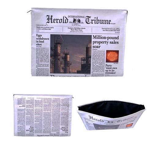Newspaper print laptop bag