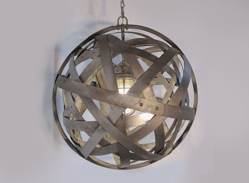 Orbits urban chandelier recycled wine barrel by StilNovoDesign
