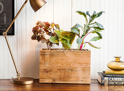 Reclaimed Wood Plug-In Planter
