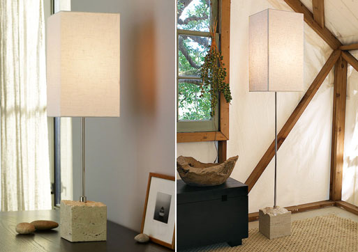 Stone-base Table & Floor Lamps
