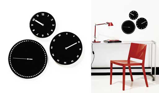 Three-Face Wall Clock