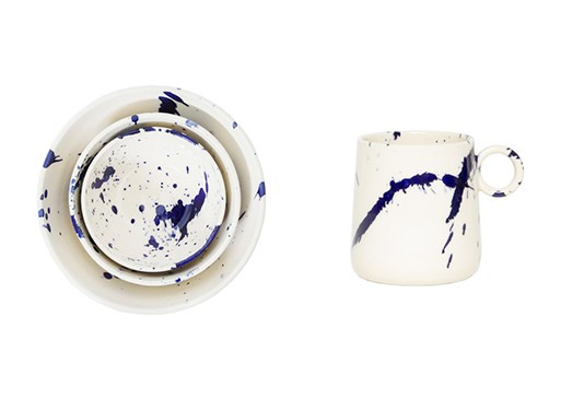 Indigo Splatter Ceramics by Chris Earl