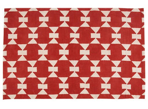 Printed Dhurrie – Poppy Red