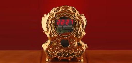 Gold Digi Clock by Maxim Velcovsky