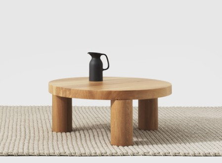 Offset Coffee Table and Stool