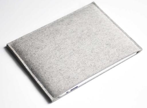 Simple Ipad Sleeve – Grey Wool Felt from byrd & belle