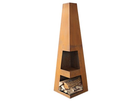 Weathering Steel Obelisk Chiminea