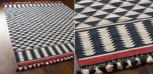 Black, White, and Red Dhurrie Rug