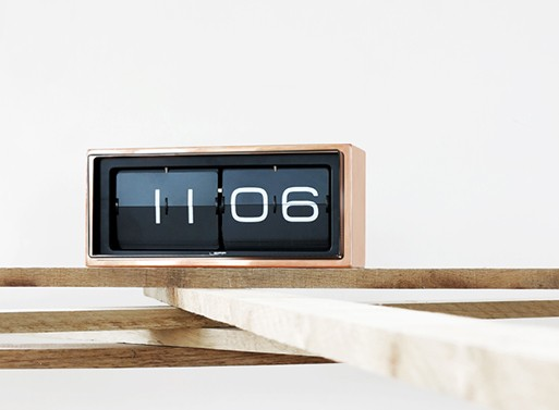 Brick Wall Desk Clock Copper