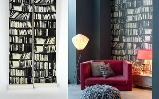 Genuine Fake Bookshelf Wallpaper — RENOVATE -- Better Living ...
