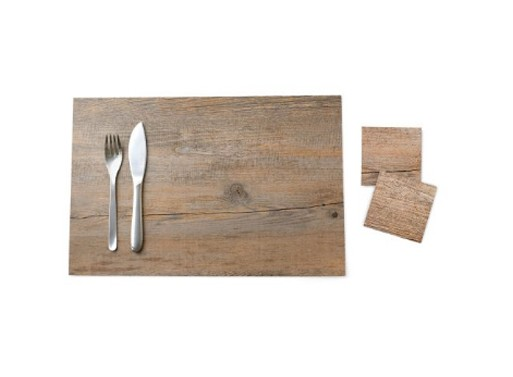 Faux Bois Placemat and Coasters