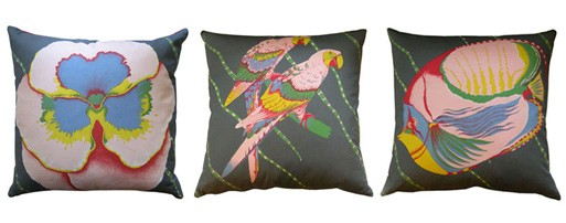 Floral, Parrot, and Fish Cushion