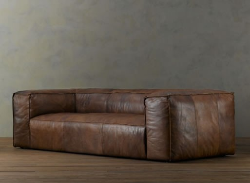 Fulham leather seating from restoration hardware for Better by design couch