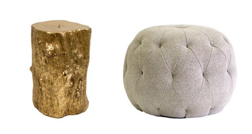 Gold Log Stool and Caspar Ottoman