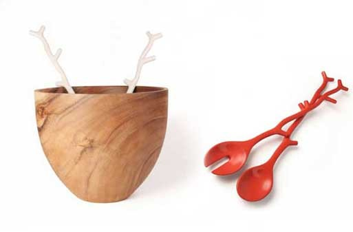 Tall Wood Salad Bowl & Coral Servers