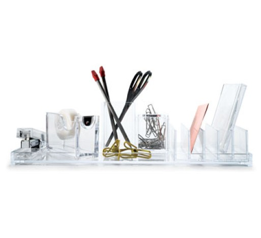 Acrylic desktop organizer accessories better living - Acrylic desk organizer set ...