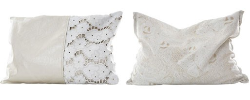 Butterfly and Leather Lace Pillow by Michaela Scherrer