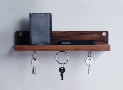 Magnetic key ring holder & shelf