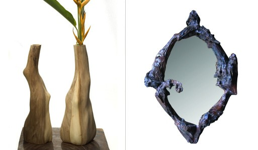 Natural Vases and Oval Jericho Mirror