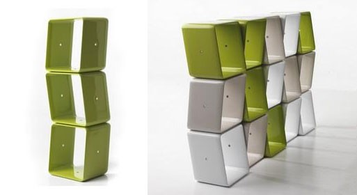 'obo' stackable asymmetrical shelving by jeff miller for baleri italia