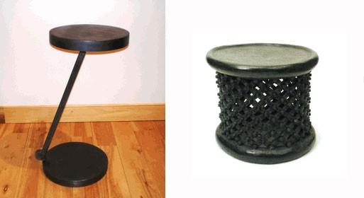Offset Side Table and Bamileke Stool