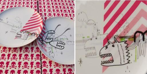 Poketo Artist Melamine Plates by Ogi (s/2)