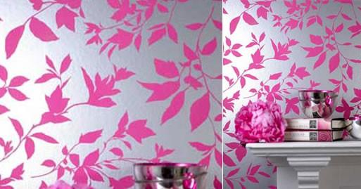 Midsummer pink and silver metallic modern floral wallpaper for Pink and silver wallpaper