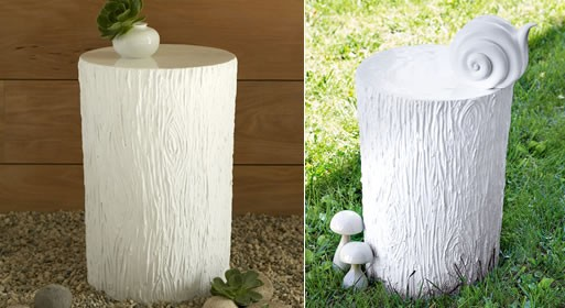 resin tree-stump side table