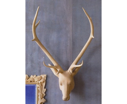 Carved Wood Deer Head