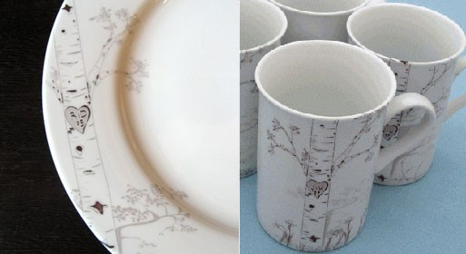 Custom Birch Tree Plate and Mug Set