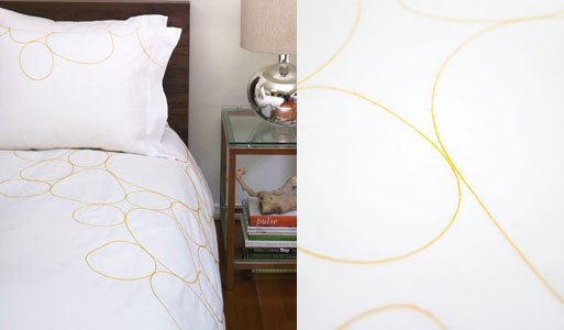 Riverbed Saffron Embroidered Duvet and Shams