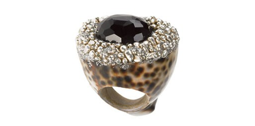 Shell & Silver Onyx Ring by Mesi Jilly