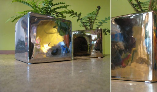 Silver and Gold Cube Planters