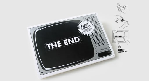 "Electrostatic removable ""the end"" sticker for your television"