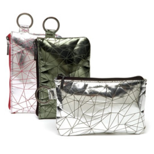 Metallic Prisma Print Leather Pouch