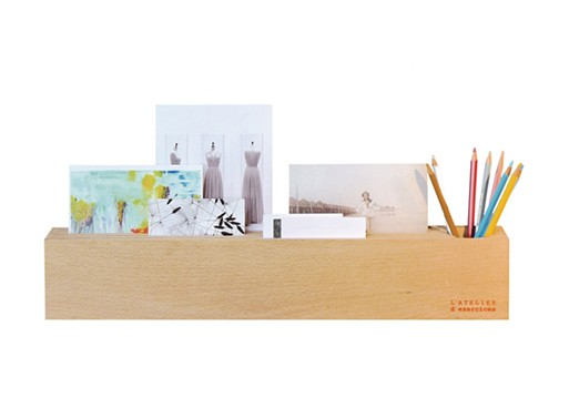 Wood block desk organizer accessories better living - Designer desk accessories and organizers ...