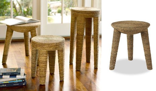 Woven Water Hyacinth Accent Tables