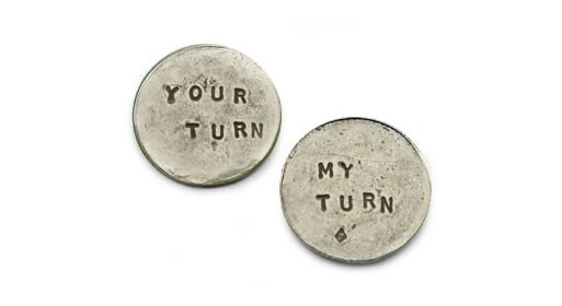 my turn / your turn coin by Tamara Hensick