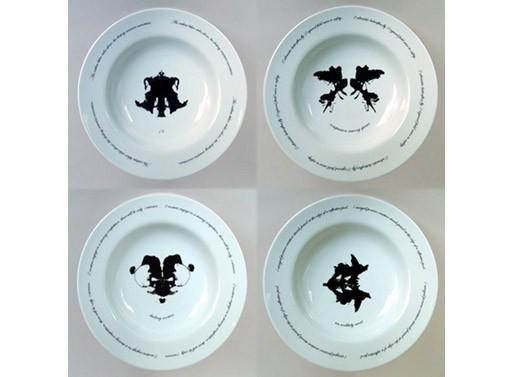 Ink Blot Dinner Plate Series by Kathleen Walsh