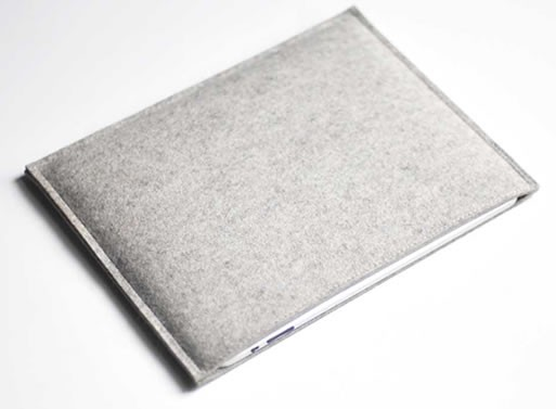 Simple Ipad Sleeve – Grey Wool Felt from byrd & belle