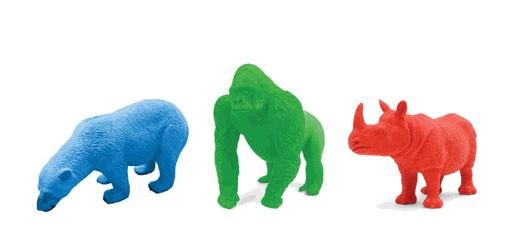 Kikkerland Erasers- Rhino, Gorilla and Polar Bear